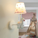 Cartoon Tapered Wall Lamp Dot-Print Fabric 1 Bulb Kids Room Wall Sconce with Horse Decoration