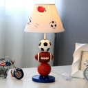 White Empire Shade Night Lamp Kid Single Fabric Table Light with Sports Balls Deco