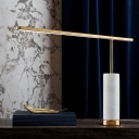 Gold Linear LED Night Table Lamp Minimalist Metal Nightstand Light with Marble Pillar