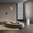 Arc Metal Floor Lighting Minimalistic Single Chrome Finish Floor Lamp with Dome Shade
