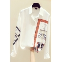 Fancy Women's Shirt Contrast Panel Graphic Pattern Button Fly Point Collar Long Sleeves Regular Fitted Shirt