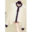 Leisure Women's Shirt Blouse Contrast Lace Trim Button Fly Long Sleeves Mock Neck Regular Fitted Shirt Blouse