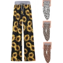 Fashion Girls Pants Sunflower Leopard Pattern Drawstring Waist Long Length Wide-leg Pants
