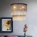 Hemp Rope Tassel Ceiling Chandelier Rustic 4-Bulb Bedroom Pendulum Light in Coffee
