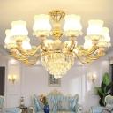 Satin Opal Glass Up Lamp Traditional Gold Flower Bud Shaped Restaurant Indoor Light Fixture