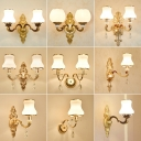 Gold Curved Arm Wall Mount Light Traditional Metal Family Room Wall Lighting Ideas