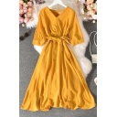 Casual Women's A-Line Dress Solid Color Tie Waist Wrap Front Half Sleeve Long A-Line Dress