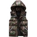 Men's Green Camo AERE Printed Zip Up Short Puffer Vest with Hood