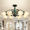 Classic Floral Shade Flush Mount Chandelier Ribbed Glass Semi Flush Light Fixture in Green