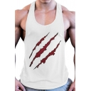 Boys Cool Tank Blood Scratchy Print Scoop Neck Slim Fit Tank Top