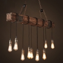 Loft Style Exposed Bulb Design Island Lamp Metallic Pendant Light Fixture for Dining Room