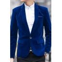 New Fashion Plain Notched Lapel Single Button Long Sleeve Split Back Mens Velvet Suit Blazer