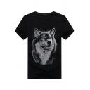 Cozy Men's Tee Top Wolf 3D Digital Print Round Neck Short Sleeve Regular Fitted T-Shirt