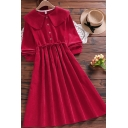 Pretty Womens Dress Curdory Plain Long Sleeve Peter Pan Collar Button Up Mid A-line Pleated Dress