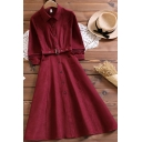 Womens Elegant Dress Plain Long Sleeve Point Collar Button Up Belted Mid A-line Shirt Dress in Red