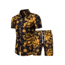 Guys Designer Co-ords Flower Allover Print Short Sleeve Spread Collar Button Up Fit Shirt & Shorts Co-ords