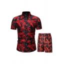 Holiday Mens Set Allover Floral Print Short Sleeve Point Collar Regular Shirt & Shorts Set