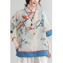 Tribal Style Women's Shirt Blouse Contrast Panel Tree Pattern Horn Button Half Sleeves Regular Fitted Shirt Blouse