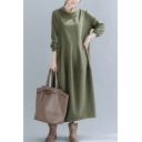 Fancy Women's Swing Dress Solid Color Cowl Neck Tiered Long Sleeves Relaxed Fit Swing Dress