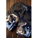 Chic Mens Shorts Dog Printed Drawstring Waist Straight Shorts