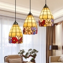 Bronze 3-Light Pendant Tiffany Hand-Crafted Glass Bell Hanging Ceiling Light with Flower Pattern
