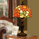 Sunflower Patterned Glass Orange Night Light Hemispherical 1-Light Tiffany Table Lamp