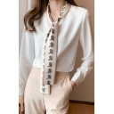 Formal Ladies Shirt White Long Sleeve Tied Neck Printed Relaxed Fit Shirt Top