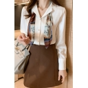 Chic Womens Shirt Long Sleeve Notched Collar Button Up Printed Tied Loose Fit Shirt Top in White