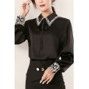 Formal Ladies Shirt Long Sleeve Floral Embroidery Point Collar Regular Shirt Top