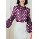 Fancy Blouse Polka Dot Print Blouson Sleeve Crew Neck See-through Chiffon Relaxed Blouse Top in Purple