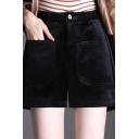 Elegant Shorts Solid Color Corduroy High Rise Wide-leg Shorts for Womens
