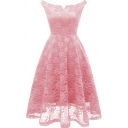 Womens Vintage Dress Plain Lace Off the Shoulder Mid Pleated Swing Dress