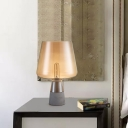 Conical Amber Glass Torchiere Table Light Post-Modern Single Grey Cement Nightstand Lamp