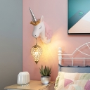 Kids Teardrop Shaped Wall Light Crystal Octagons 1 Head Bedside Sconce Lamp with Unicorn Backplate