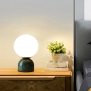 Marble Dome Mini Night Lamp Postmodern 1-Light Table Light with Ball Opal Glass Shade