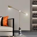 Brass Lever LED Floor Lamp Postmodern Metallic Standing Floor Light with Bell Marble Base