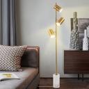 Tube Living Room Reading Floor Lamp Metal 3-Head Postmodern Standing Lamp with Pierced Detail in Gold