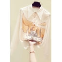 Unique Women's Shirt Building Pattern Button Fly Point Collar Long Sleeves Shirt