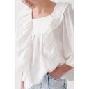 Womens Pretty Shirt White Blouson Sleeve Square Neck Ruffled Trim Loose Fit Shirt
