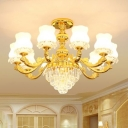 Opal White Glass Bud Chandelier Traditional Living Room Suspension Lighting with Crystal in Gold