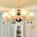 Bloom Dining Room Hanging Light Retro Frost Glass Chandelier with Faceted Crystal Drop
