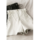 Unique Women's Shorts PU Leather Lace up Detailed Zip Fly High Waist Shorts