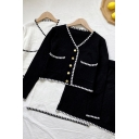 Stylish Women's Set Contrast Piping Button Fly Long Sleeve Front Pocket Regular Fitted Cardigan with High Waist Knitted Skirt Co-ords