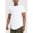 Basic Mens T Shirt Solid Color Short Sleeve Crew Neck Curved Hem Regular Fit Tee Top