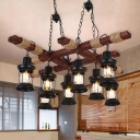 Wooden Chandelier Light Fixture Rustic Clear Glass Lantern Pendant Lamp for Dining Room