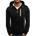 Leisure Men's Hoodie Contrast Piping Zip Fly Long Sleeves Drawstring Hooded Sweatshirt