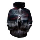 Cozy Men's Hoodie Wolf 3D Digital Print Long Sleeve Drawstring Hooded Sweatshirt