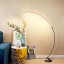Coffee Curve LED Standing Light Minimalistic Metal Floor Lighting for Living Room
