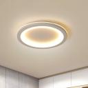 Geometric Ultrathin LED Ceiling Light Simple Acrylic Bedroom Flush Mount Fixture in Grey