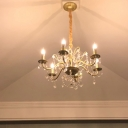 Country Style Candelabra Chandelier Clear Crystal Hanging Ceiling Light in Gold for Dining Room